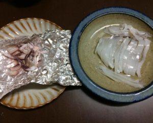 刺身と肝焼き