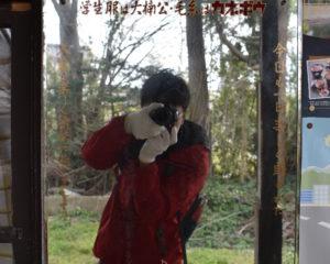 レトロな鏡(東三日市駅ホーム)