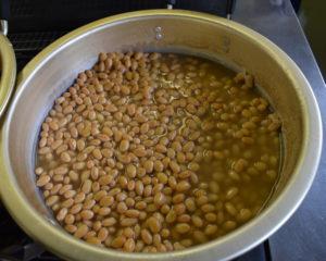 煮えた大豆でーす